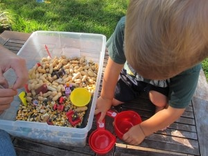 Peanut farm sensory tub (not for those with allergies).