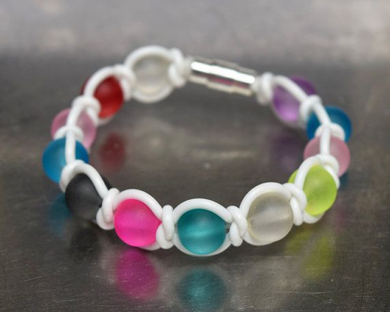 Colorful frosted acrilic beads - white rubber cord wrap bracelet  19 cm (7.48 in)