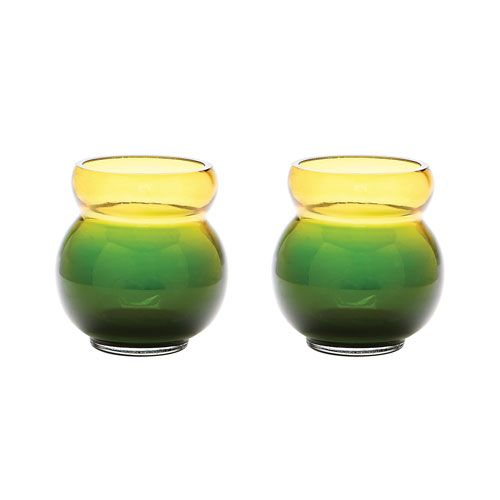 Bubble Votives Green Candle Holders - Set of Two