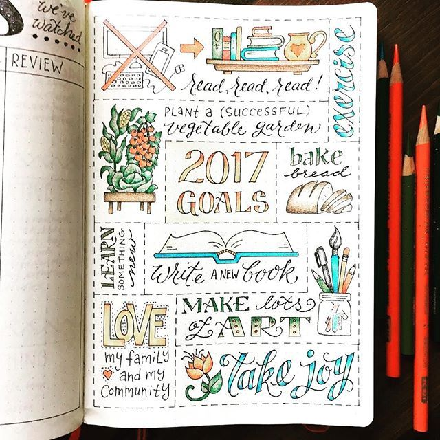 Let's look ahead to 2017. Here's a beautiful #2017goals page from @jtraftonart. One of my goals is to post more of my own #bulletjournal even though I will never compete with talented artists Jennifer, here. That's ok! I like to think of myself more of a