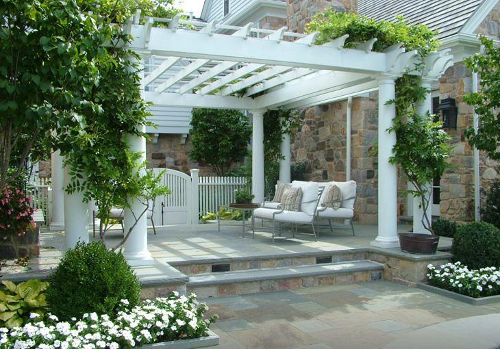 Beautiful pergola, setting and vines ~ Hess Landscape Architects