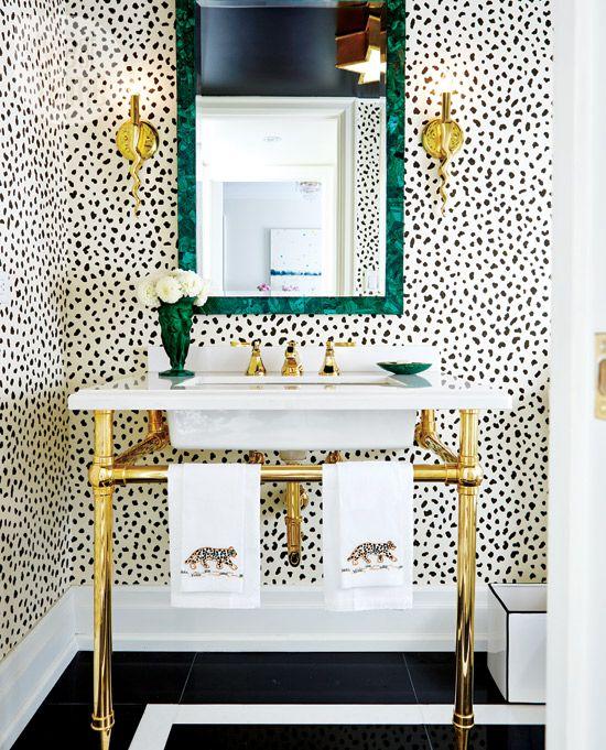 Powder Bath | Bathroom Ideas | Leopard Wallpaper | House Tour | Jessica Waks | Style at Home | Interior Design