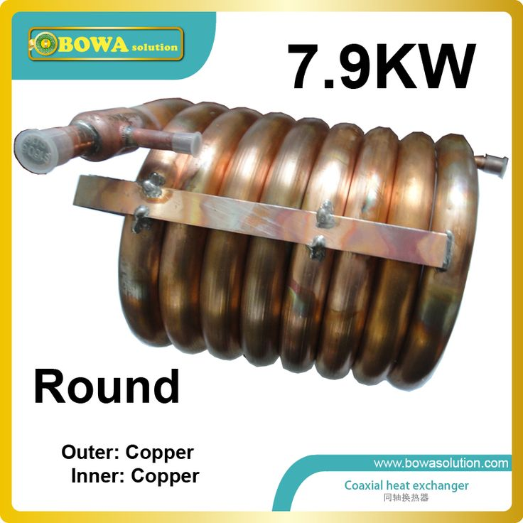 7.9KW outer and inner copper pipe heat exchanger suitable for 22000BTU air conditioner with ZR22K3E scroll compressor