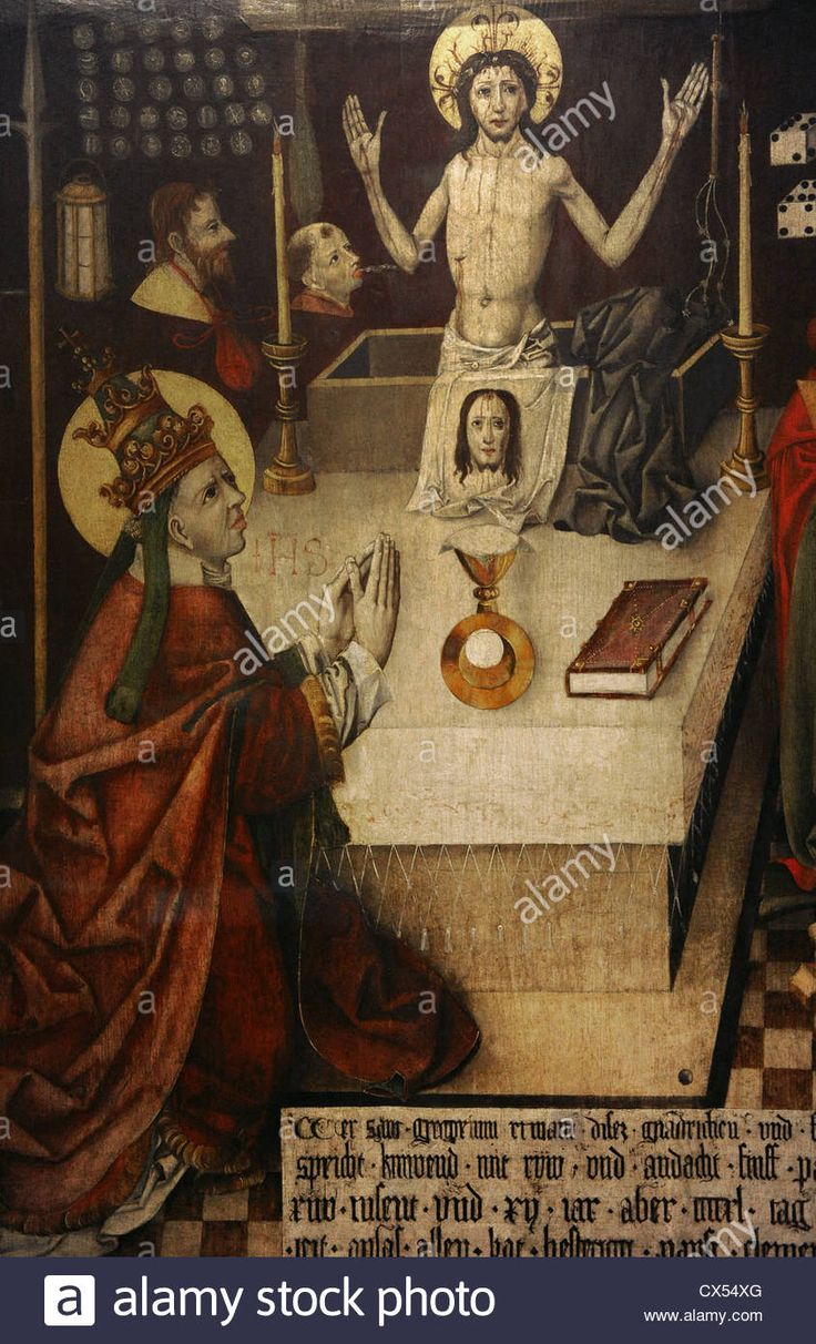 Download this stock image: Jan Polack (1435-1519). Mass of Saint Gregory. Augsburg, 1496. Painting on wood. German Historical Museum. Berlin. Germany. - CX54XG from Alamy's library of millions of high resolution stock photos, illustrations and vectors.