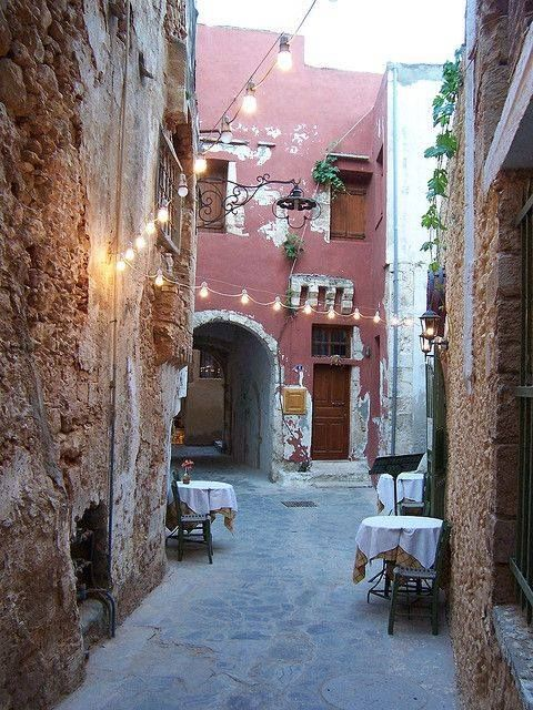 Alley in the old town of Chania, Crete, Greece