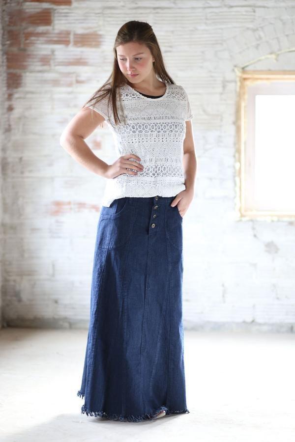 Isabelle Dark Navy Long Jean Skirt Sizes 6-18