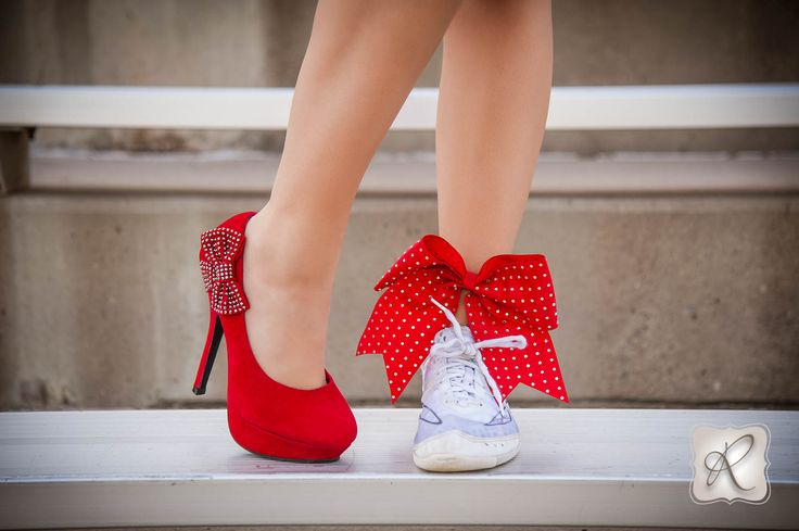 Senior Portrait / Photo / Picture Idea - Cheer / Cheerleader / Cheerleading - Shoes - Bow - Stands