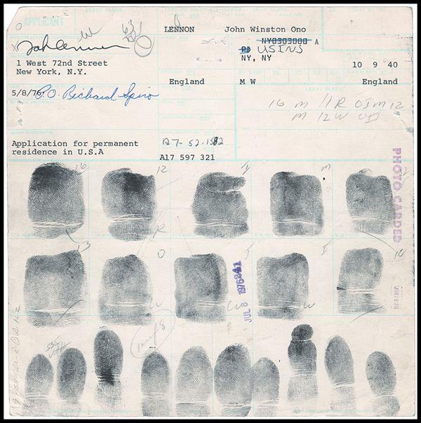 John Lennon Beatles Fingerprint File Fingerprints