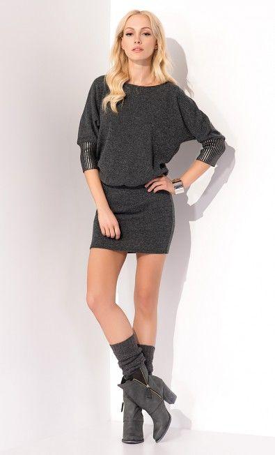Ciemnoszara tunika ELIF ZAP215077 - ZAPS - Sklep Zaps | on-line fashion