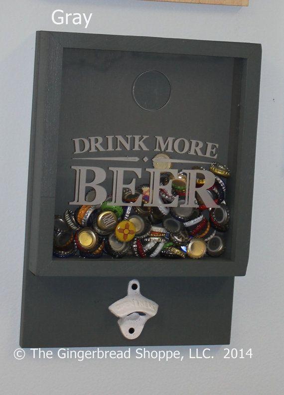Drink more BEER/Bottle Cap Holder/Bottle Opener/Beer Decor/Bar Decor/Father's Day/Man Gift/Engraved on Etsy, $49.95