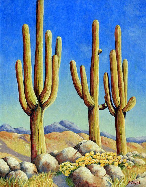saguaros cactus in the desert, original painting fine art acrylic