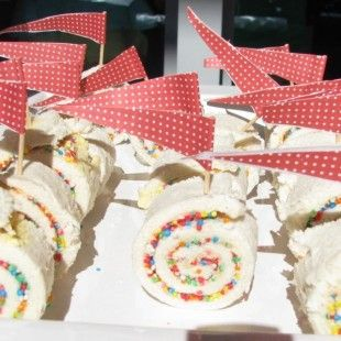 Fairy bread pin wheels - easy and they look great! #kids party food ideas