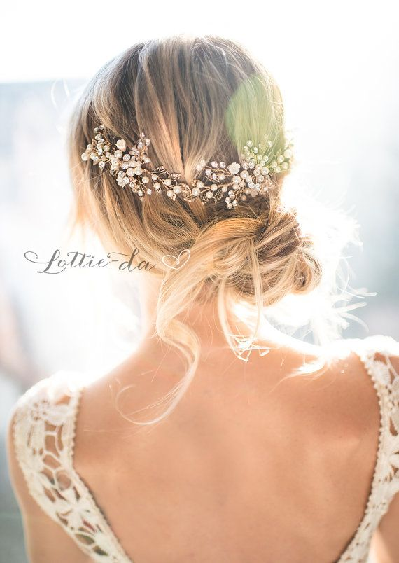 ***This is my headpiece for the wedding*** Lottie-da Designs 'Zinnia' Gold Boho Hair Halo, Bridal Pearl Flower Crown, Hair Vine, Hair Wreath, Wedding Pearl Vine, Boho Wedding Headpiece