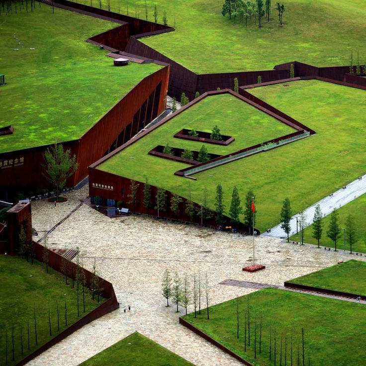 designboomin 2008, a huge earthquake in china's sichuan province was the country's deadliest in more than 30 years. designed by cai yongjie, the 'wenchuan earthquake memorial museum' pictured above takes the form of a ruptured landscape, where large subterranean buildings are topped with green roofs that ensure that the complex adopts an unobtrusive presence.