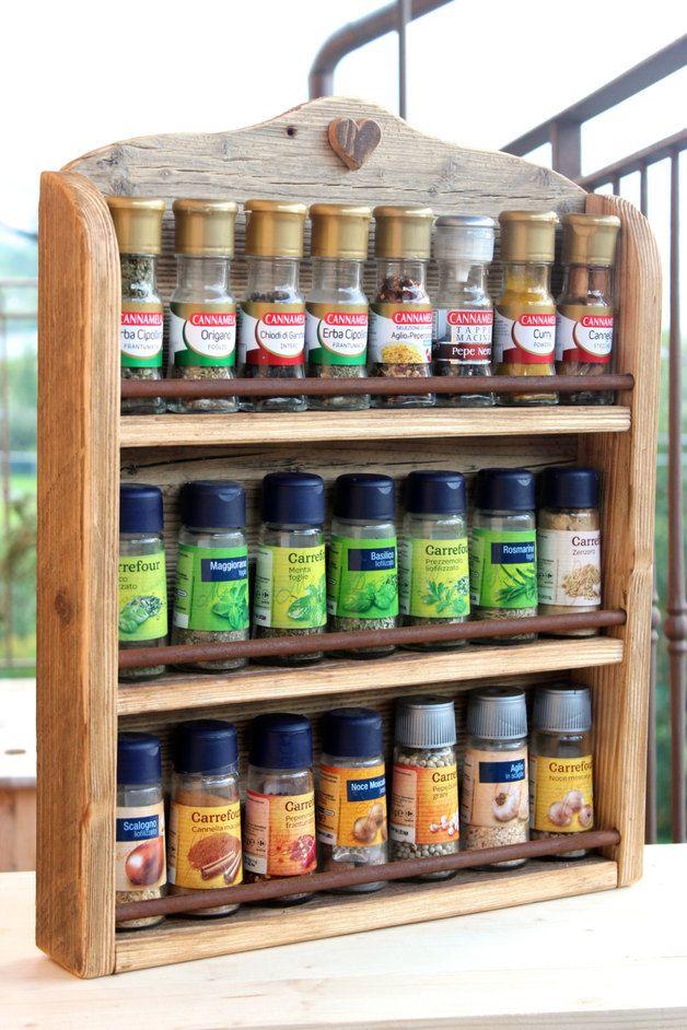 Portaspezie da appendere - Porta Spezie in legno di Abete rustico - un prodotto unico di Alpinedecor su DaWanda