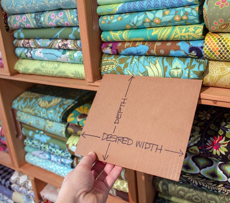 A great tutorial for how to fold fabrics from your stash to an exact size. Choose which size folded fabrics will fit your storage shelves best!