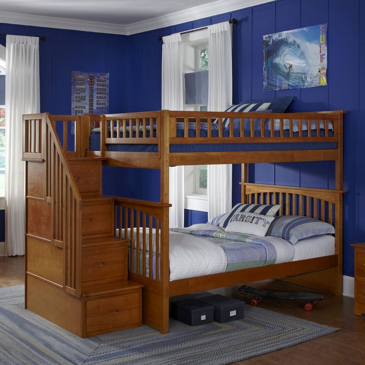 Columbia Full over Full Staircase Bunk Bed - Caramel Latte - AB55807