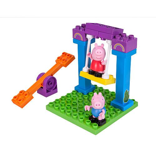It's time to play with Peppa Pig and her brother, George! Take turns pushing Peppa or George on the swing, or let them see-saw together! This 18-piece set includes stickers to decorate your set and two figures, for endless playground fun!<br><br>The Peppa Pig Playground Adventure Construction Set 15 Pieces Features:<br><ul><li>Ages 2-5</li><br><li>18-piece set</li></ul><br><br>Peppa Pig is an energetic,...