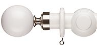 Regency Milan 30mm Wood Curtain Pole, White, Ball
