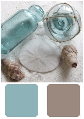 These are the colors in my apartment.  Bedroom, bathroom and kitchen are done in the blue and the living room is in a shade lighter of the brown... LOVE it!!!