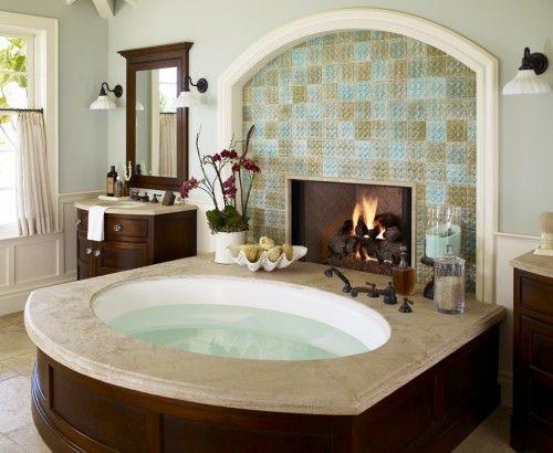 another bath idea love it: Dreams Home, Bath Tubs, Bathtubs, Fireplaces, Dreams Bathroom, Dreams House, Master Bath, Hot Tubs, Fire Places