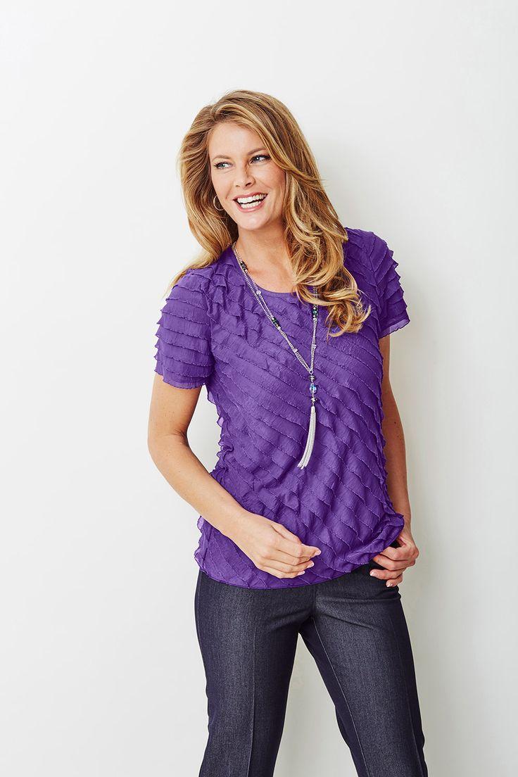 Ladies Purple Purple Bias Frill Short Sleeve Top & Necklace