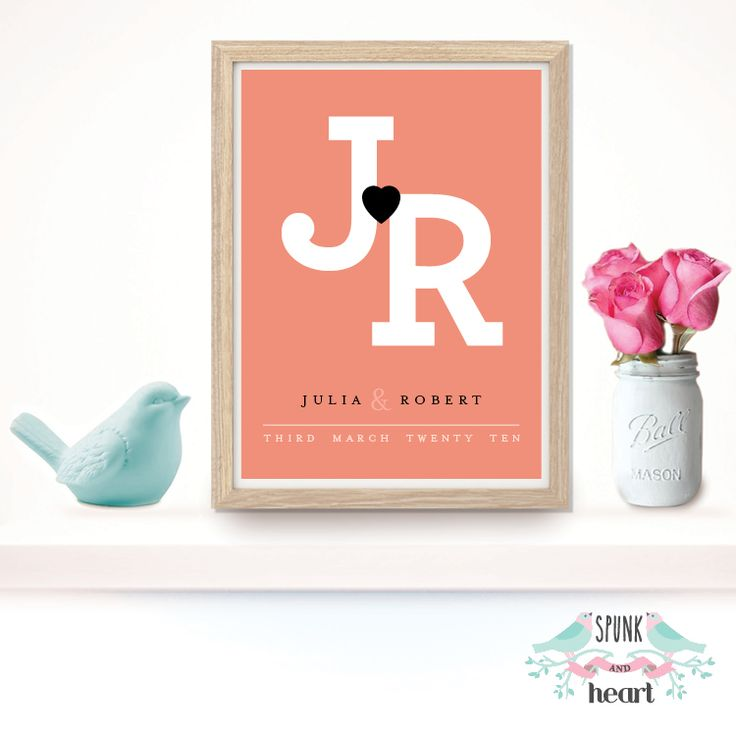 """This unique Wedding Anniversary Couple Date Print makes the perfect piece of beautiful treasured keepsake artwork for couples special day. Perfect for a wedding/anniversary gift or special keepsake that will be treasured for many years!  Design is customised with couples initials, first name and date. Print can also be customised with location or other info that you may like to include, just advise in """"other info to be included"""" field.  FREE SHIPPING Australia wide  DETAILS OF THE ..."""