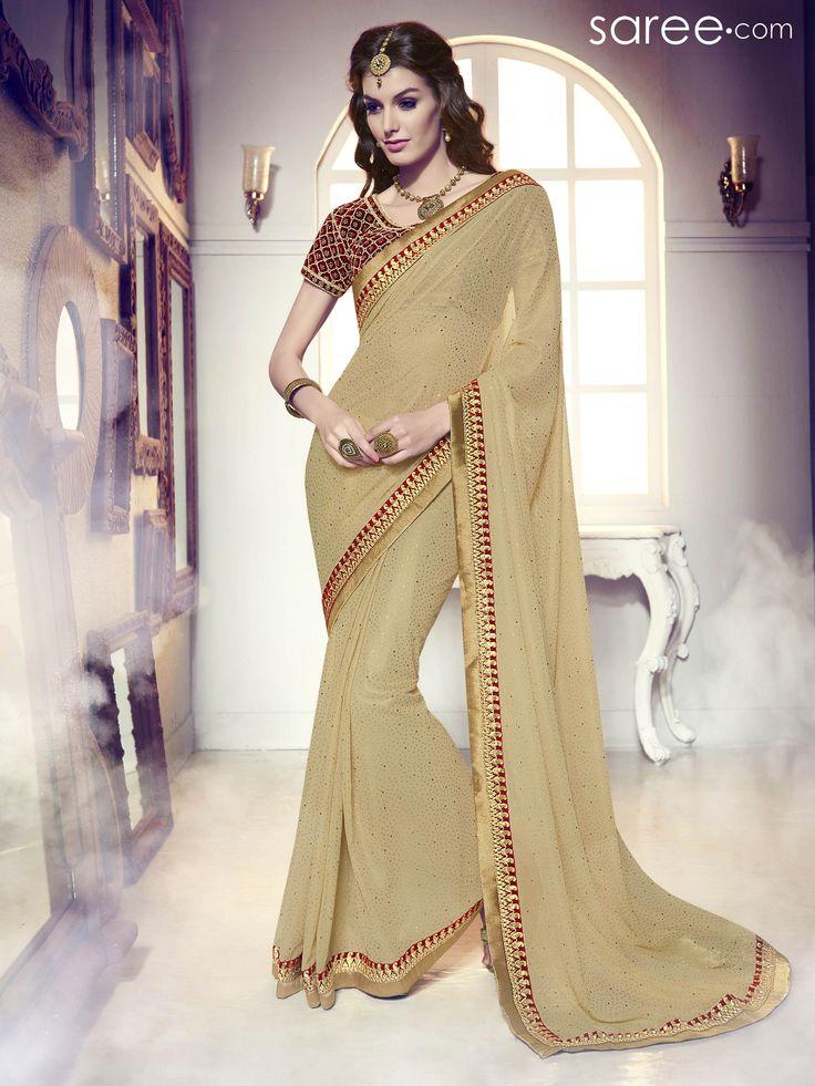 BEIGE GEORGETTE SAREE WITH EMBROIDERY WORK  #Saree #Chiffonsarees #Sari #Indianfashion #fashionIndia #sareelover #georgettesaree #IndianWear #Ethnicwear #IndianEthnicwear