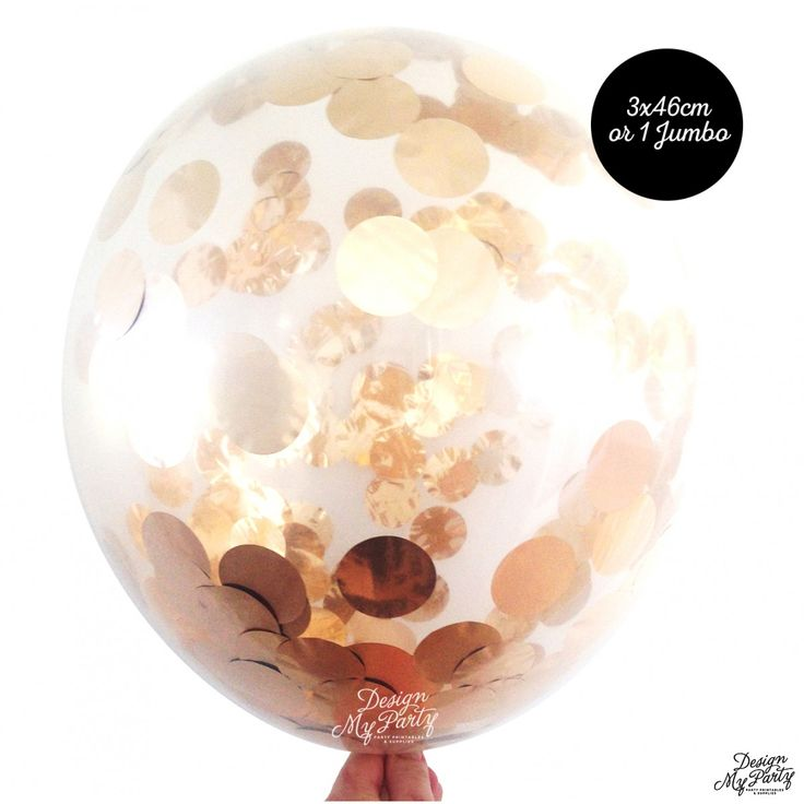 Rose Gold Confetti Balloon - Large 46cm or Jumbo 90cm