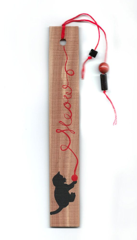 Hand Painted Missouri Cedar Wood Bookmark - Meow!