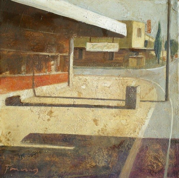 "François Foucras ""The lone store "", Painting, Acrylics and oils, 2009, 20 x 20 cm - Francois Foucras"