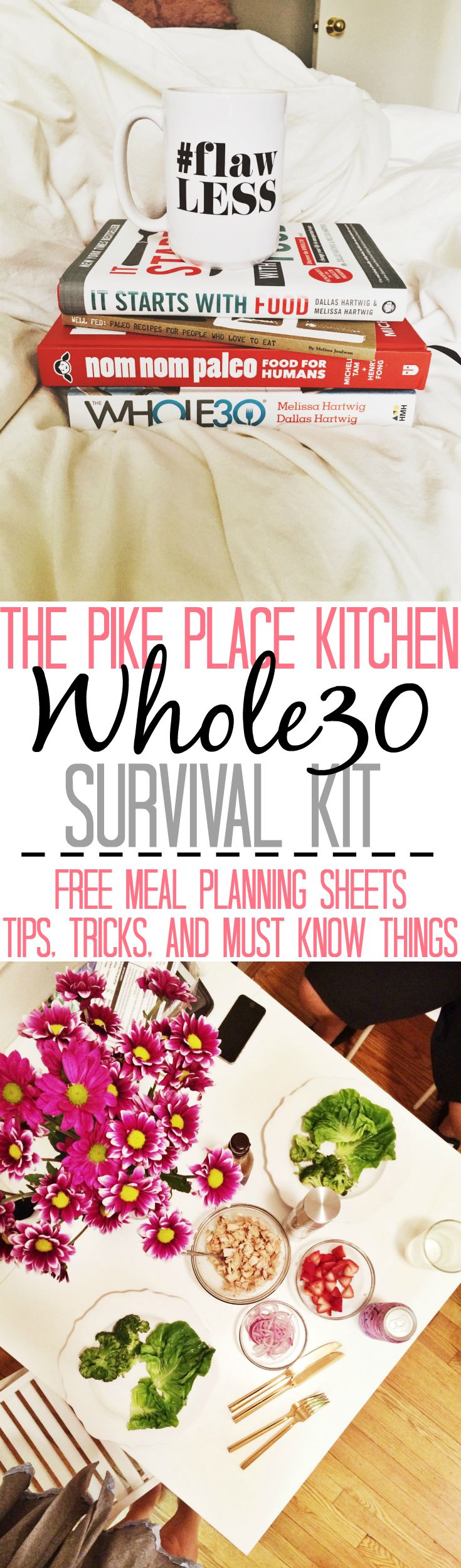 "A ""survival kit"" of all the tips/tricks/things I wish I knew before/at the beginning of my whole30. Including the meal planning & grocery list templates I used and a list of emergency ""omg i need food HALLP!"" meals I relied on."