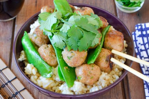 Glazed Mini Pork Meatballs & Snow Peas over Brown Rice 1