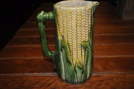 Fabulous Majolica Corn Pitcher Antique by souhernsistersjewels, $145.00