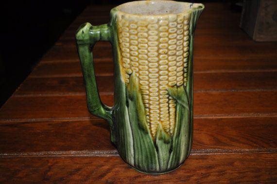 Fabulous Majolica Corn Pitcher Antique by souhernsistersjewels, $145.00