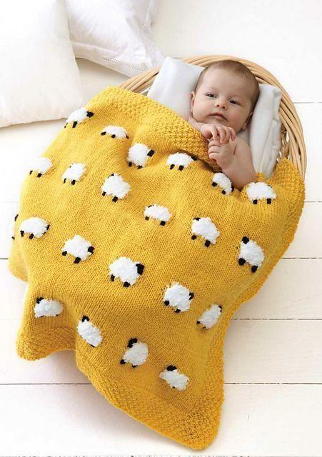 Tricot : couverture enfant moutons                                                                                                                                                     Plus