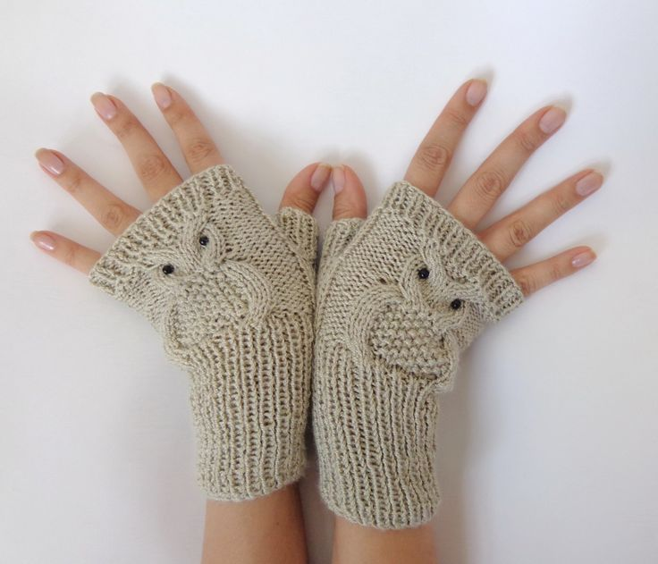 Owl Finger Less Gloves Knitted Mittens Or Mitts In Beige