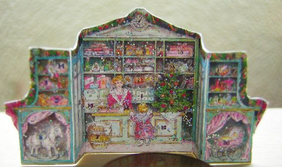 Cute Victorian advent calendar Shop. The door will not open. 2.3 x 3.5 cm Note: Doll House Miniature