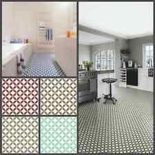 Victorian Tile Design Vinyl Flooring Sheet Non Slip Lino Kitchen Bathroom Roll Bathroom