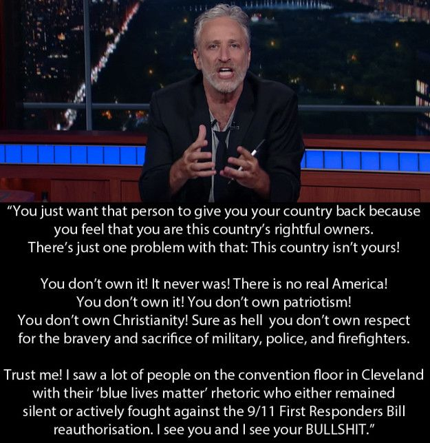 """Here is what he said at the end of his monologue. 