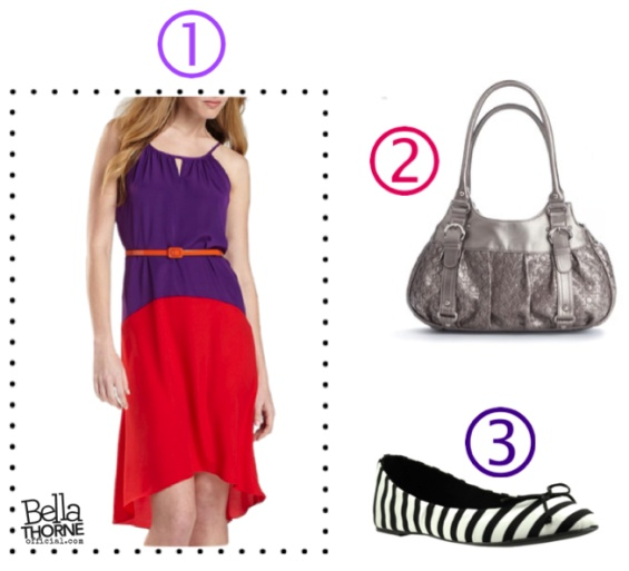 Get Bella Thorne's Pink and Purple Color-Blocked Dress Look