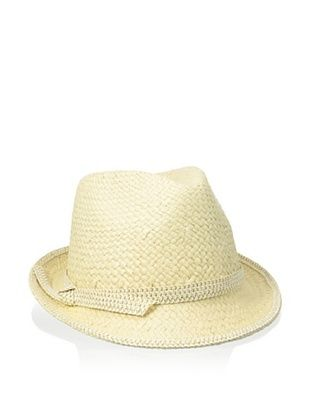 57% OFF Giovannio Women's Woven Fedora, Light Beige/Gold
