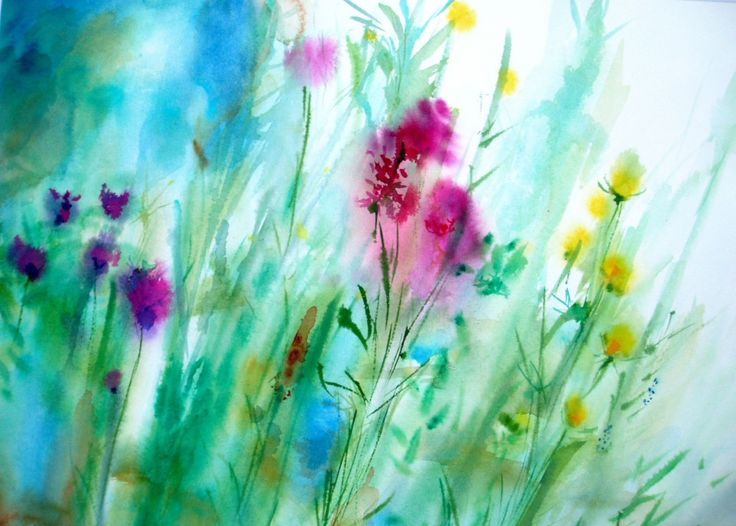 Misty Morning Wet On Wet Watercolor Painting Flowers Art