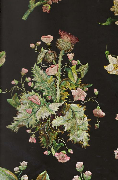 muirgilsdream:  Embroidery by Mary Delaney. Thistle. The pieces pictured here are thought to have been parts of a court gown.