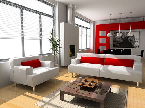 White, Red, and Black living room I like the one red wall