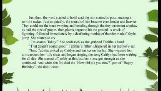 Tabitha's Magical Voice is a story for young readers by author and composer, Tiffany Prochera, about a 12-year old girl named Tabitha who hates her voice until she discovers it might just be able to save a village of little people called Grenigots. This is a video of Part 3 of a 5-part audio recording of the story which is also available as an e-book from www.tiffanyprochera.com.