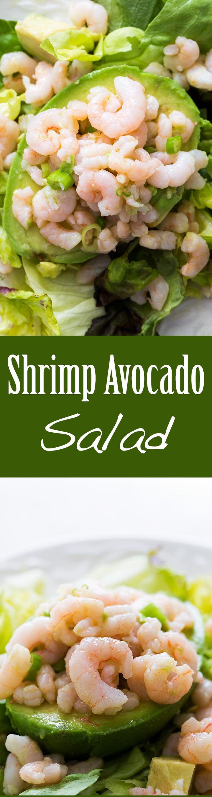 Easy shrimp and avocado salad, takes only 10 minutes to make! Pink shrimp and creamy avocado are a perfect match, especially with a crisp vinaigrette. #paleo #glutenfree #LowCarb On SimplyRecipes.com