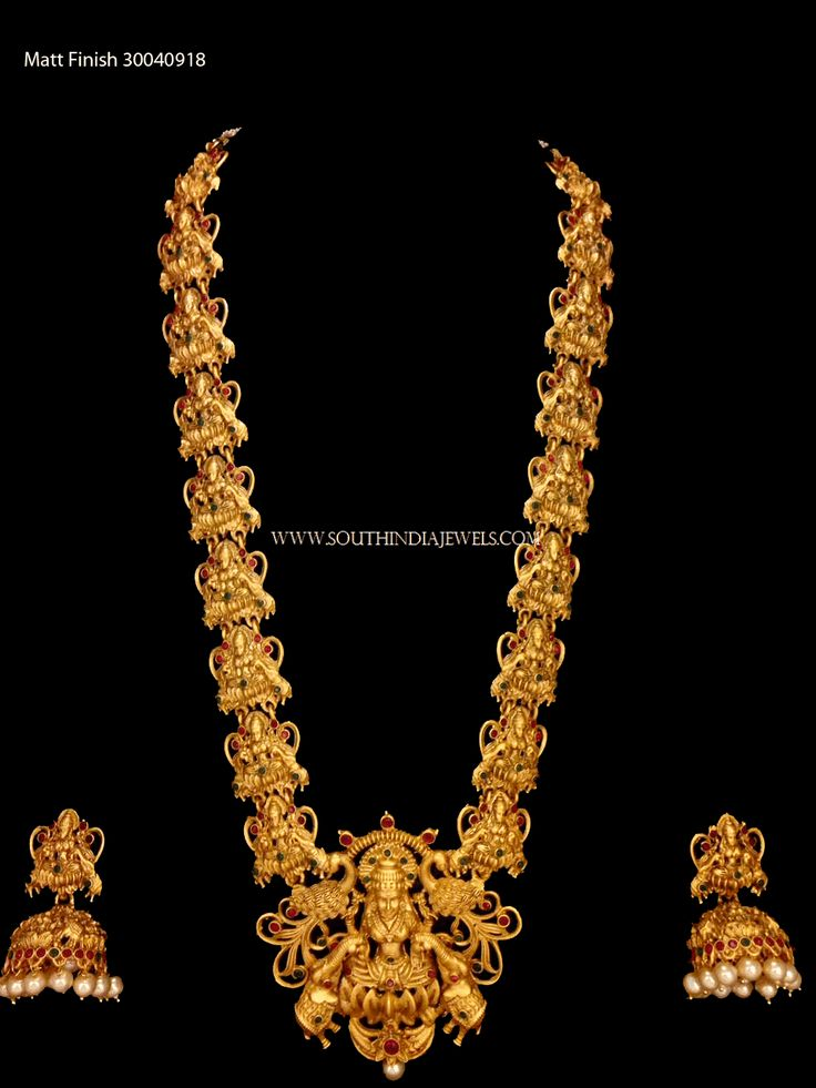 Gold Plated Long Lakshmi Necklace with Jhumka