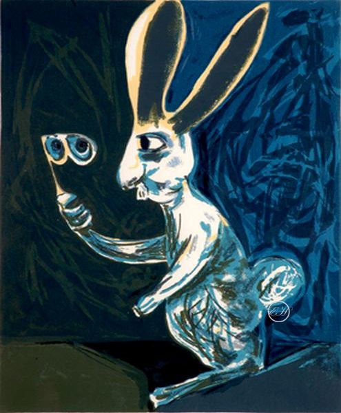 "Charles Blackman   ""The White Rabbit A.P"