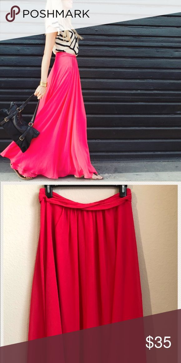 Armani Exchange fuschia maxi skirt size 0 EEUC worn one time. Size 0, but runs big will fit a 2 possibly a 4. So so pretty!! A/X Armani Exchange Skirts Maxi